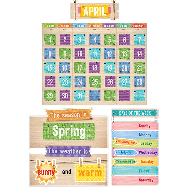 Creative Teaching Press 67 Piece Upcycle Style Calendar Bulletin Board Set