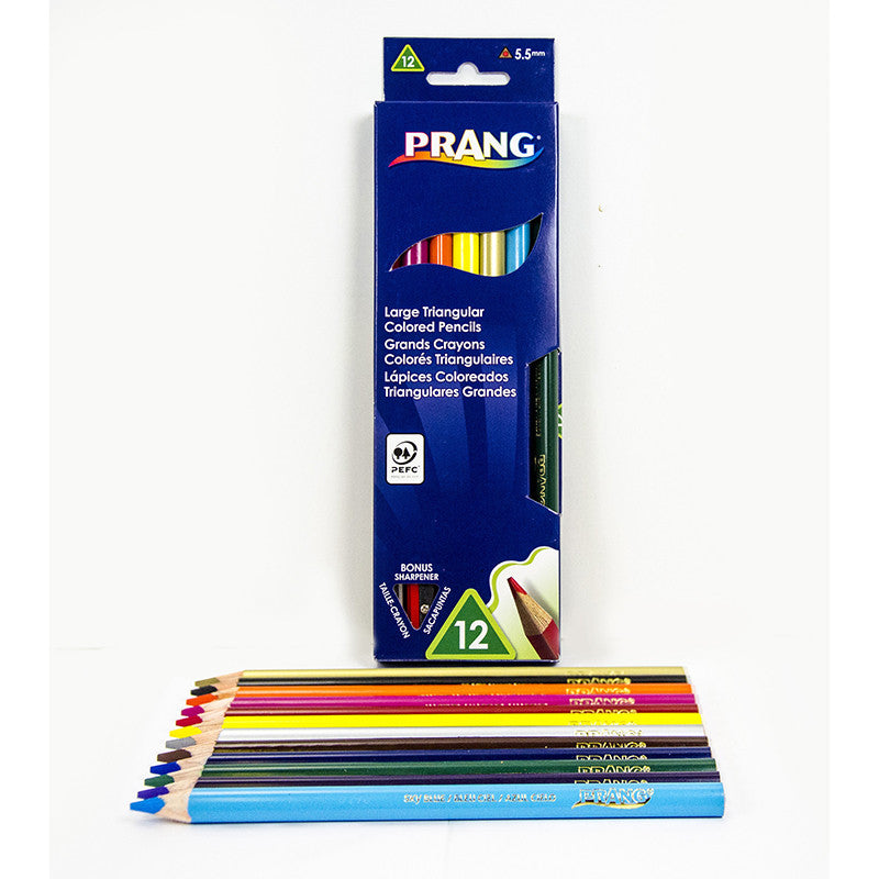 Prang Large Triangular Colored Pencils 12 Color Set
