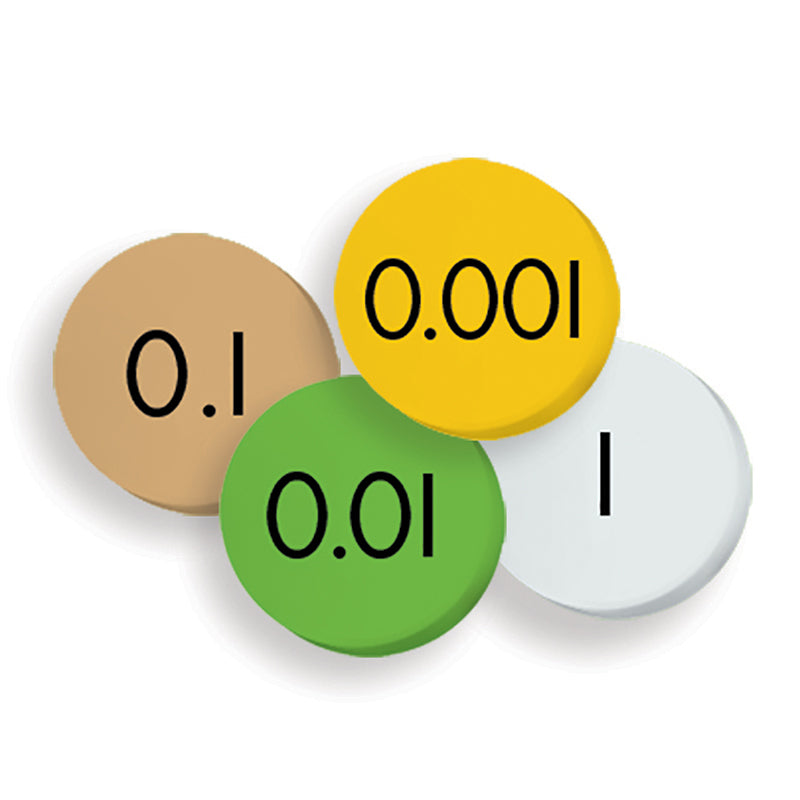 Essential Learning Products 4-Value Decimals To Whole Number Place Value Discs, Set of 100