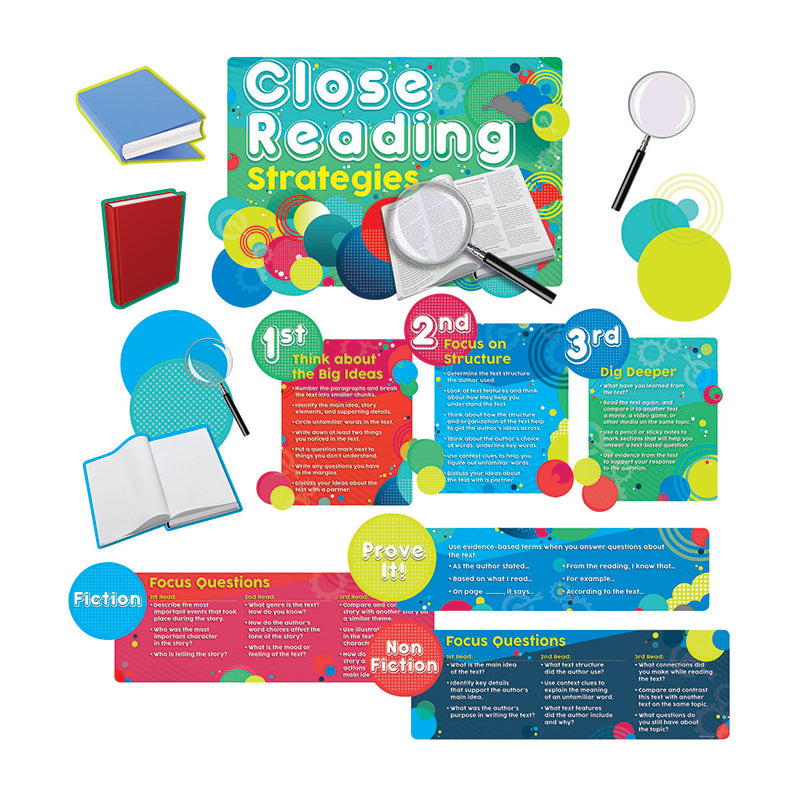Edupress 13 Piece Close Reading Strategies Bulletin Board Set