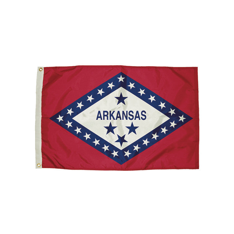 3X5 Nylon Arkansas Flag Heading & Grommets