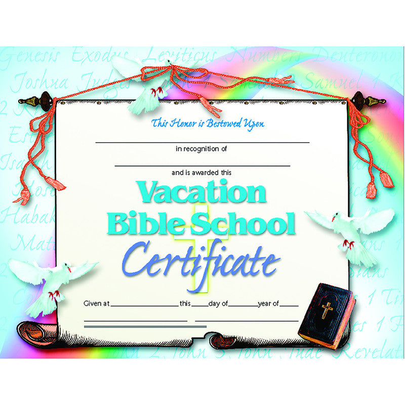 Vacation Bible School Set Of 30 Certificates The Education Station Inc