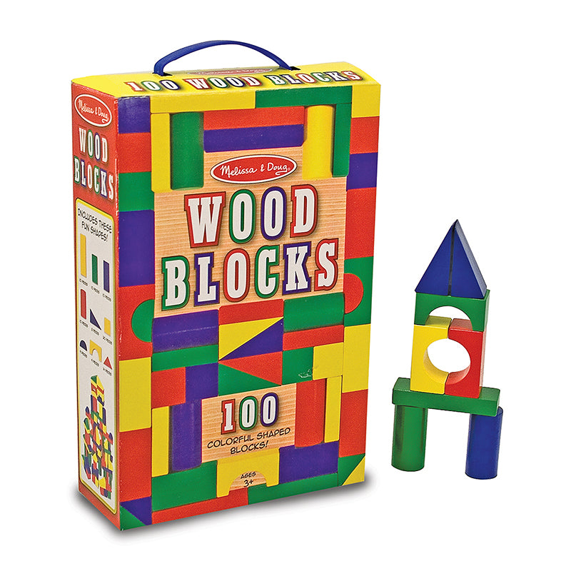 Melissa and Doug 100 Piece Wooden Painted Unit Block Sets