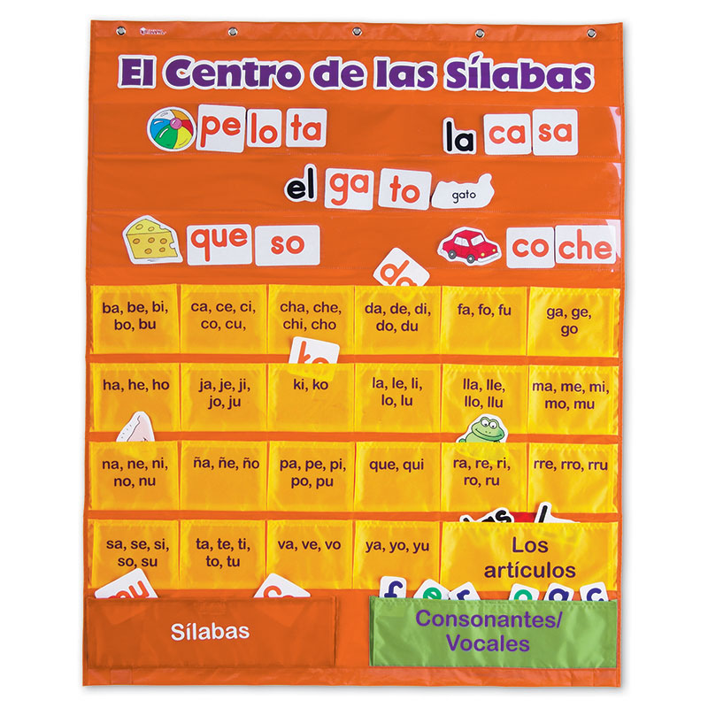 Learning Resources Spanish Syllables Pocket Chart with Cards