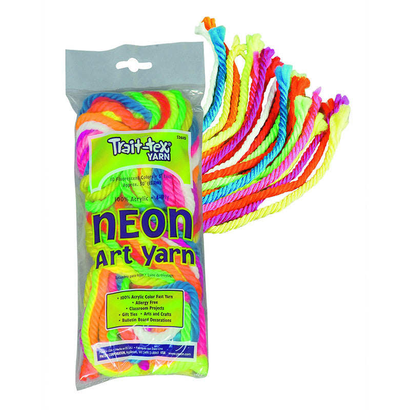 Art Yarn 50Ft 9 Fluorescent Colors Plus White