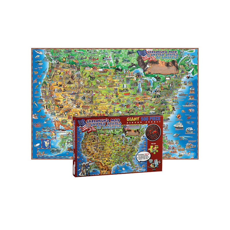 500 Pc Dinos Childrens Us Map Jigsaw Puzzle United States Map The - Us-map-jigsaw-puzzle