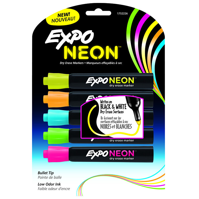 Expo Neon Bullet 5/Pack Pink Org Yellow Green Blu Carded