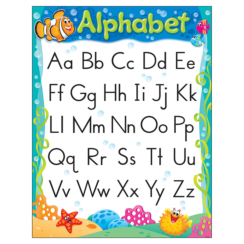 Trend Enterprises Inc. Sea Buddies Alphabet Learning Chart, 17x22 Inches