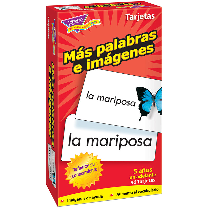 Trend Enterprises Mas Palabras E Flash Cards, 96 Count