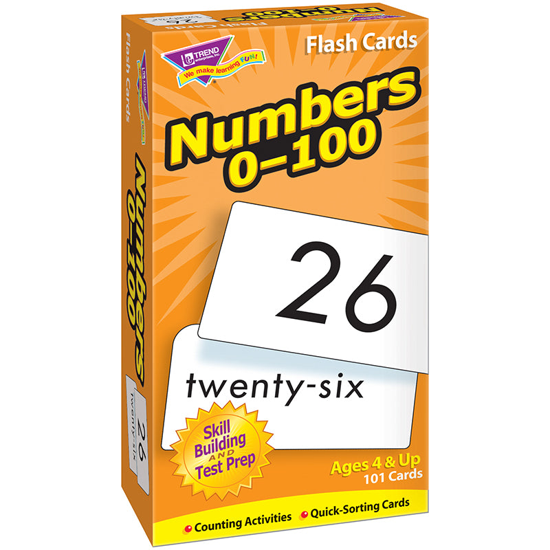 Trend Enterprises Numbers 0-100 Flash Cards, 101 Count