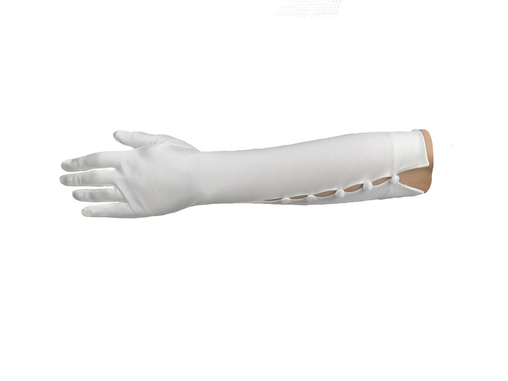 Button Trim Elbow Gloves