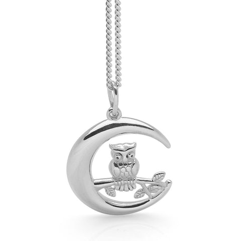 Owl in Moon Pendant (Silver)