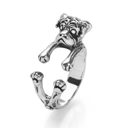 Silver Pug Ring