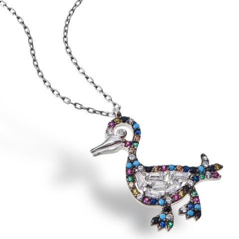 Rainbow Duck Necklace