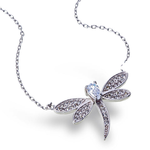 Zirconia Dragonfly Necklace
