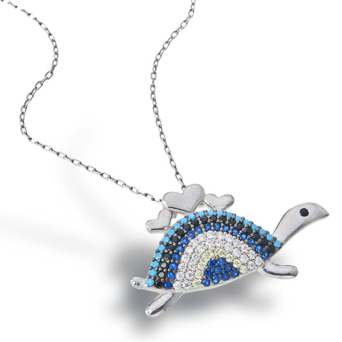 Tortoise Love Necklace (Blue)