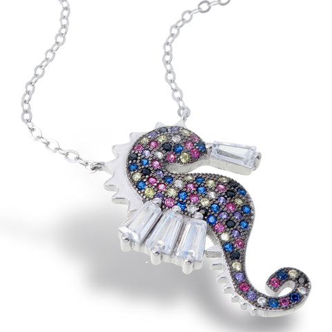 Crystal Seahorse Necklace (Large)