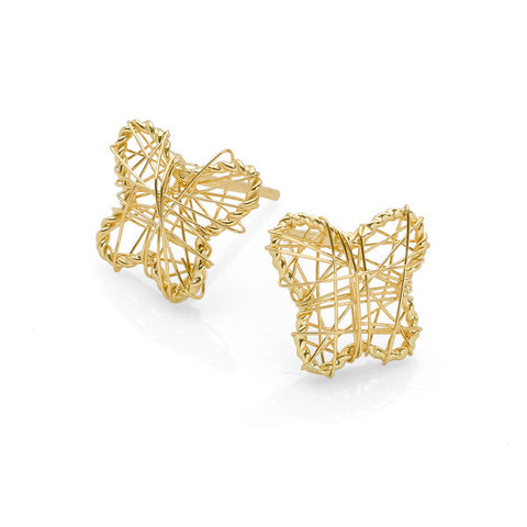 Embroidered Butterfly Studs (Gold)