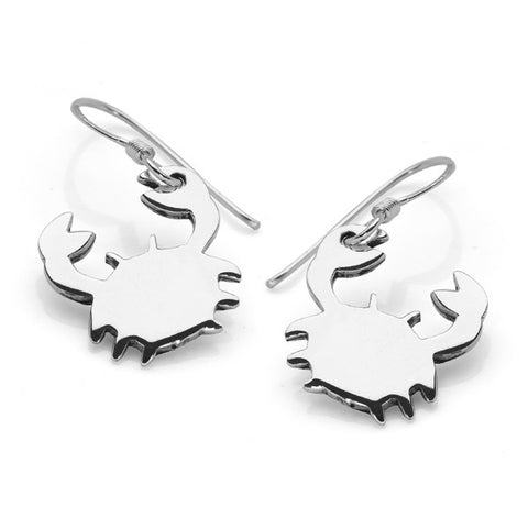 Silver Shore Crab Earrings
