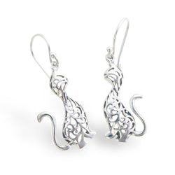 Silver Lace Cat Earrings