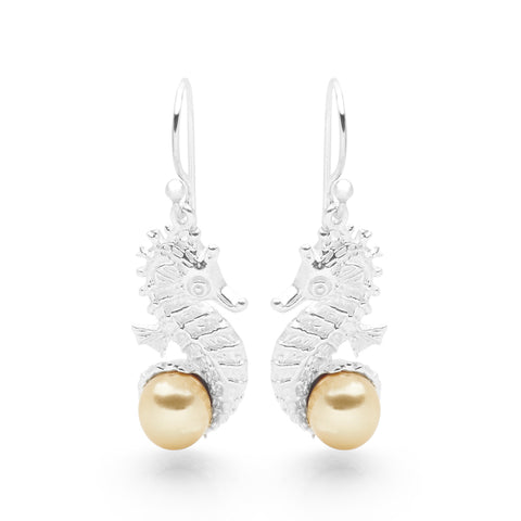 Pearl Guardian Seahorse Earrings (Gold)