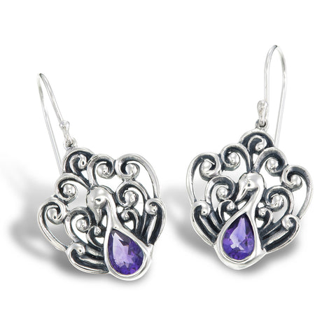 Amethyst Peacock Earrings