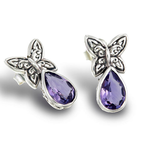 Amethyst Butterfly Earrings