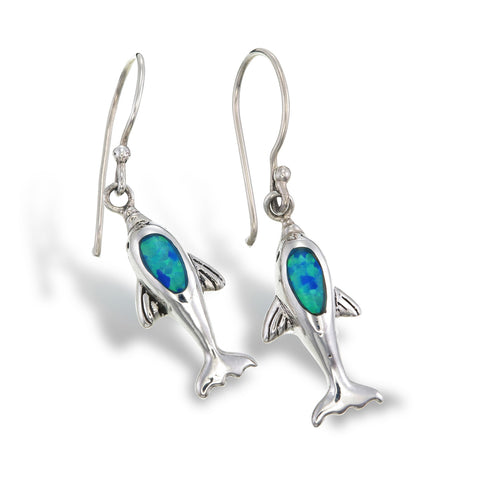 Blue Opal Dolphin Earrings