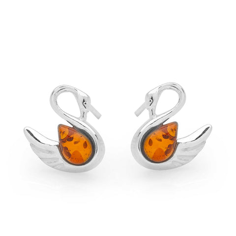 Amber Swan Earrings