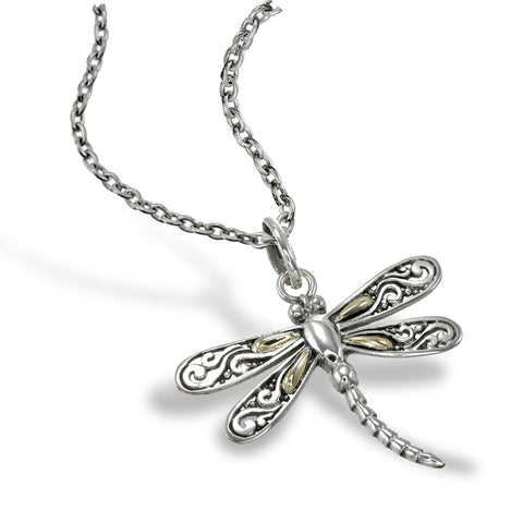 Golden Dragonfly Pendant - Large