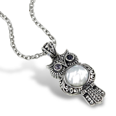 Mother of Pearl Owl Pendant