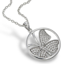 Meadow White Butterfly Pendant