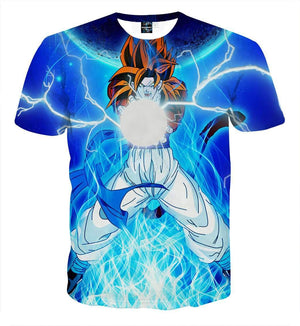 T Shirt 3D - T Shirt 3D All Over Dragon Ball GT Goku SSJ 4 Kamehameha