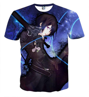 T Shirt 3D - T Shirt 3D All Over Sword Art Online Kirito Night
