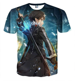 T Shirt 3D - T Shirt 3D All Over Sword Art Online Kirito Fight