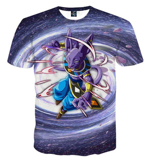 T Shirt 3D - T Shirt 3D All Over Dragon Ball Super Beerus Galaxy