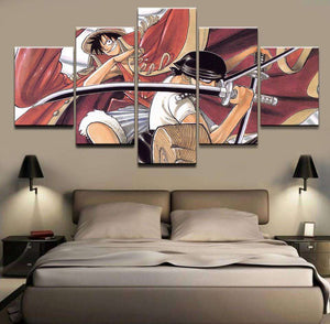 Canvas - Décoration Murale En 5 Pièces One Piece Luffy X Zoro