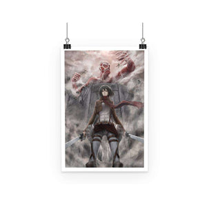 Poster - Poster Attack On Titans Mikasa Vs Colossal Titan