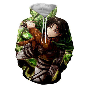 Pull à Capuche 3D - Pull à Capuche 3D All Over Attack On Titans Levi Rivaille Attack