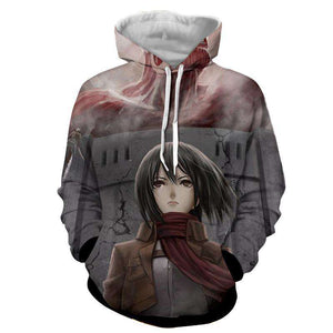 Pull à Capuche 3D - Pull à Capuche 3D All Over Attack On Titans Mikasa