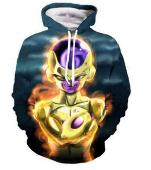Pull à Capuche 3D - Pull à Capuche 3D All Over Dragon Ball Super Golden Freeza