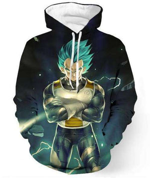 Pull à Capuche 3D - Pull à Capuche 3D All Over Dragon Ball Super Vegeta SSJ God