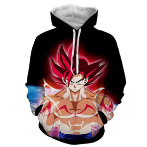Pull à Capuche 3D - Pull à Capuche 3D All Over Dragon Ball Z Goku God Red