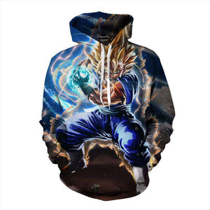 Pull à Capuche 3D - Pull à Capuche 3D All Over Dragon Ball Z Vegeto Super Saiyan
