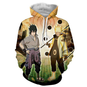 Pull à Capuche 3D - Pull à Capuche 3D All Over Naruto X Sasuke Six Paths Power