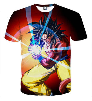 T Shirt 3D - T Shirt 3D All Over Dragon Ball GT Goku SSJ 4