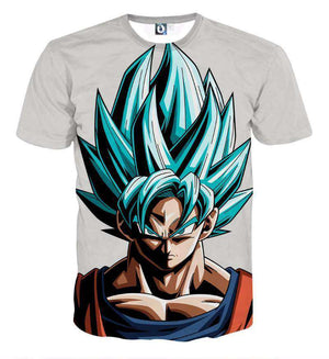 T Shirt 3D - T Shirt 3D All Over Dragon Ball Super Goku Super Saiyan God Blue