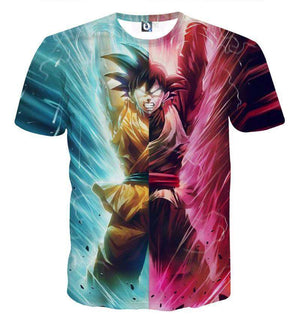 T Shirt 3D - T Shirt 3D All Over Dragon Ball Super Goku Vs Black