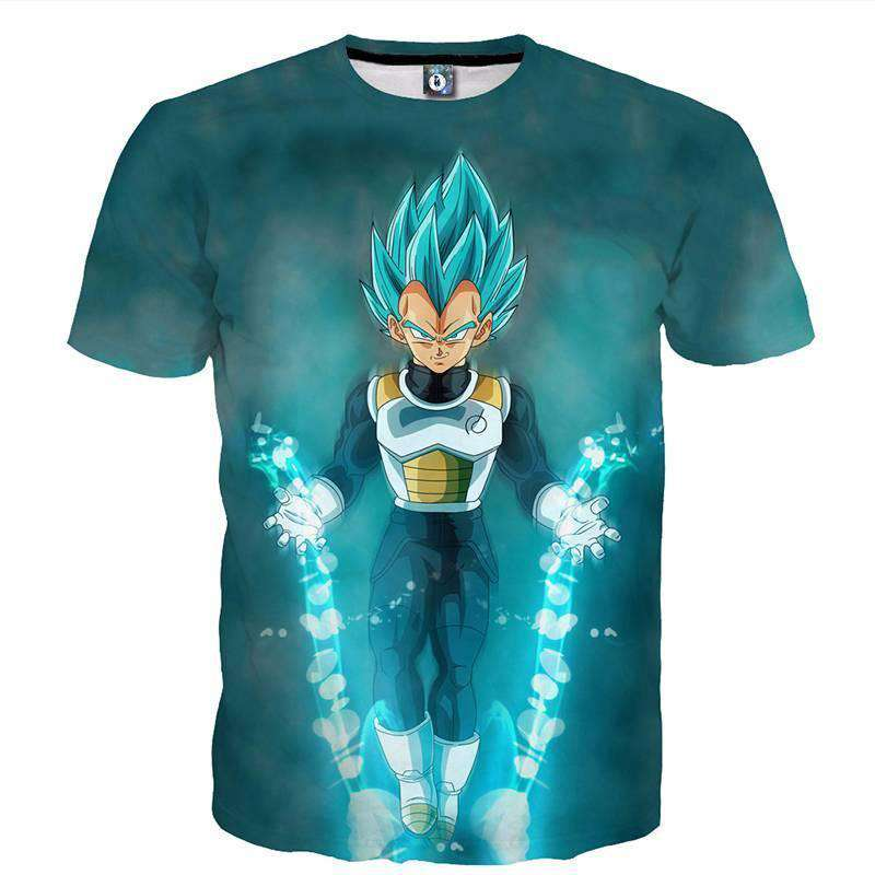 T Shirt 3D - T Shirt 3D All Over Dragon Ball Super Vegeta God Mode