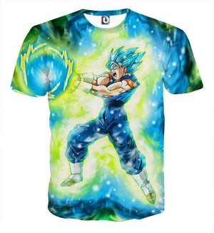 T Shirt 3D - T Shirt 3D All Over Dragon Ball Super Vegeto Attack